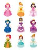 Mooie geplaatste de prinsespictogrammen van het beeldverhaal Royalty-vrije Stock Afbeeldingen