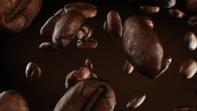 Mooie Geroosterde Koffiebonen die onderaan Close-up in Langzame Motie Naadloos CG op Bruine Achtergrond vallen Van een lus voorzi stock video