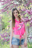 Mooie geschikte dame tussen bloesemboom in purpere kleur Royalty-vrije Stock Foto's