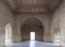Mooie gesneden ruimte binnen het paleis bij het Rode Fort. India Stock Foto's