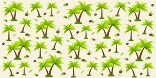 Mooie geweven vectorachtergrond met palmen en kokosnoot vector illustratie