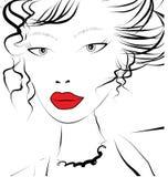 Mooie gezichts jonge vrouw vector illustratie