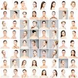 Mooie, gezonde en jonge vrouwelijke portretteninzameling stock afbeelding