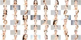 Mooie, gezonde en jonge vrouwelijke portretteninzameling royalty-vrije stock foto's