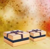 Mooie Gift gouden doos met boog Royalty-vrije Stock Fotografie