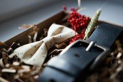 Mooie giften, een riem en een vlinderdas Stock Afbeelding