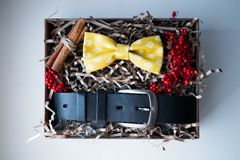 Mooie giften, een riem en een vlinderdas Stock Fotografie