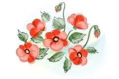 Mooie giftkaart met het rode boeket van waterverfpapavers Royalty-vrije Stock Afbeelding