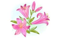 Mooie giftkaart met roze waterverflelies Stock Fotografie