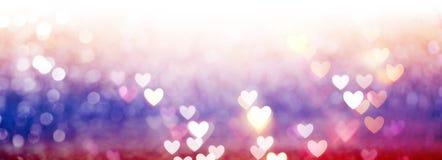 Mooie glanzende harten en abstracte lichten Stock Fotografie