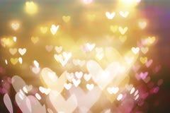 Mooie glanzende harten en abstracte lichten Royalty-vrije Stock Afbeeldingen