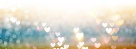 Mooie glanzende harten en abstracte lichten Royalty-vrije Stock Fotografie