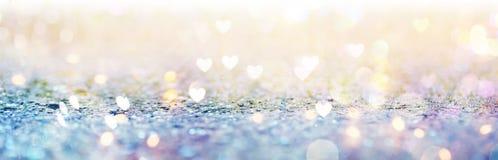 Mooie glanzende harten en abstracte lichten Stock Foto