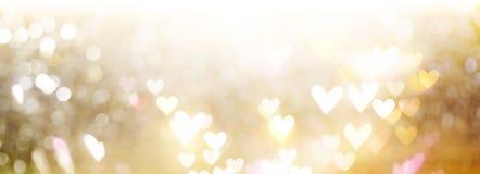Mooie glanzende harten en abstracte lichten Stock Afbeeldingen