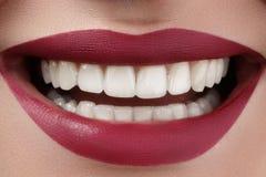 Mooie glimlach met het witten van tanden De perfecte make-up van manierlippen Royalty-vrije Stock Fotografie