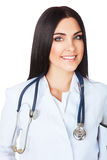 Mooie glimlachende arts in wit met stethoscoop Stock Afbeelding