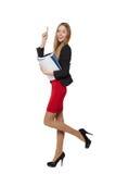 Mooie glimlachende bedrijfsdievrouw, met documenten, op a worden geïsoleerd Royalty-vrije Stock Foto's