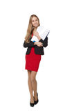 Mooie glimlachende bedrijfsdievrouw, met documenten, op a worden geïsoleerd Royalty-vrije Stock Foto