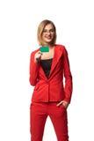 Mooie glimlachende bedrijfsvrouw die bril en in r dragen Royalty-vrije Stock Fotografie