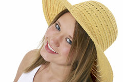Mooie Glimlachende Tiener in Gele Hoed over Wit royalty-vrije stock fotografie