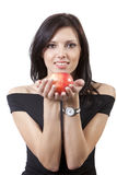 Mooie glimlachvrouw met appel Royalty-vrije Stock Foto