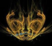 Mooie gouden vreemde fractal van het het masker abstracte ontwerp van ` s samenstelling stock illustratie