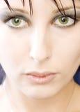Mooie groene eyed vrouw stock foto's