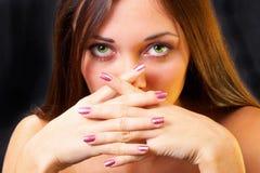 Mooie groene ogen stock foto
