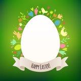 Mooie Groene Pasen-Kaart met Symbolen van de Lente Stock Foto
