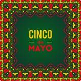 Mooie groetkaart, uitnodiging voor Cinco de Mayo-festival Ontwerpconcept voor Mexicaanse fiestavakantie met overladen grenskader Stock Afbeelding