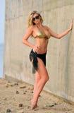 Mooie grote busted jonge mannequin met lang blond haar in gouden bustehouder Stock Foto