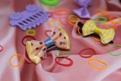 Mooie haarspelden, elastiekjes voor terriers van Yorkshire stock fotografie
