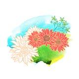 Mooie hand getrokken bloemen op waterverfachtergrond Vector illustratie Stock Foto's