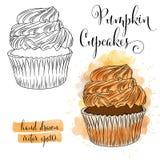 Mooie hand getrokken waterverf cupcakes met pompoen vector illustratie
