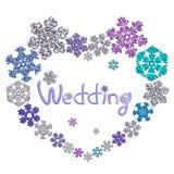 Mooie hartvorm met van letters voorzien gemaakt van sneeuwvlokken Royalty-vrije Stock Afbeelding