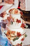 Mooie heerlijke witte huwelijkscake De dag van het huwelijk stock foto's