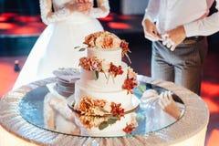 Mooie heerlijke witte huwelijkscake De dag van het huwelijk royalty-vrije stock fotografie
