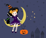 Mooie heksenzitting op de maan bij nacht, Halloween-kaartvector Royalty-vrije Stock Fotografie
