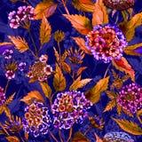Mooie heldere bloemen met oranje bladeren op donkerblauwe achtergrond Naadloos BloemenPatroon Het Schilderen van de waterverf Royalty-vrije Stock Afbeeldingen
