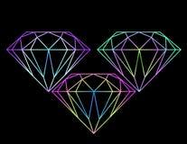 Mooie heldere gekleurde diamanten Stock Afbeelding