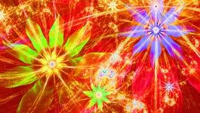 Mooie heldere levendige moderne bloemachtergrond in rode, gele, purpere, groene kleuren Royalty-vrije Stock Afbeeldingen