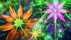 Mooie heldere levendige moderne bloemachtergrond in roze, rode, purpere, groene kleuren Royalty-vrije Stock Afbeelding