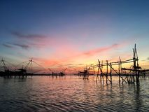 Mooie hemel in de ochtend in Phatthalung Thailand Stock Foto