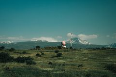 Mooie hemel met groene gebieden royalty-vrije stock fotografie