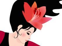 Mooie het gezichts dichte omhooggaand van de profielvrouw De leliebloem verfraaide haar haar De danser van het flamenco Financi?l vector illustratie