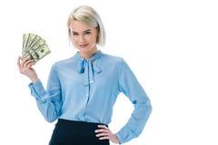 mooie het glimlachen de dollarbankbiljetten van de onderneemsterholding, Royalty-vrije Stock Afbeelding