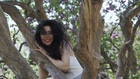 Mooie het glimlachen donkerbruine loog bij boomboomstam stock videobeelden