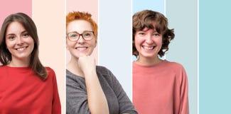 Mooie het glimlachen vrouwelijke gezichts slechts collage Positieve emotie royalty-vrije stock fotografie