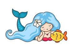 Mooie het liggen dromerige meermin met lang golvend blauw haar royalty-vrije illustratie