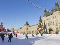 Mooie het schaatsen piste op Rood Vierkant Royalty-vrije Stock Afbeeldingen